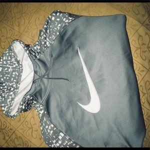 White and Gray Long Sleeve Nike Hoodie